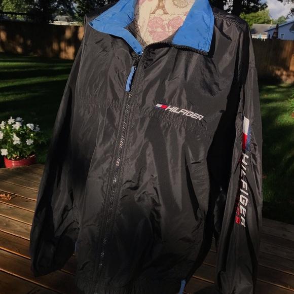 Details about Vintage Tommy Hilfiger Athletics Men XL Windbreaker Jacket Flag Colorblock Black